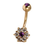 Belly Bars - Many styles - 9ct Gold with Jewels 9ct08C, 10mm, Purple