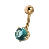 Belly Bars - Many styles - 9ct Gold with Jewels 9ct12A, 10mm, Light Blue