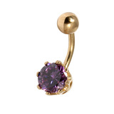 Belly Bars - Many styles - 9ct Gold with Jewels 9ct12B, 8mm, Purple