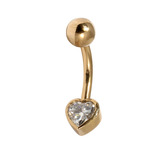 Belly Bars - Many styles - 9ct Gold with Jewels 9ct13A, 10mm, Crystal Clear