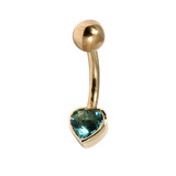 Belly Bars - Many styles - 9ct Gold with Jewels 9ct13B, 10mm, Light Blue