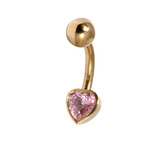 Belly Bars - Many styles - 9ct Gold with Jewels 9ct13C, 10mm, Pink