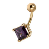 Belly Bars - Many styles - 9ct Gold with Jewels 9ct14A, 8mm, Purple