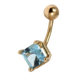 Belly Bars - Many styles - 9ct Gold with Jewels 9ct14C, 8mm, Light Blue