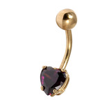 Belly Bars - Many styles - 9ct Gold with Jewels 9ct15A, 10mm, Purple