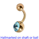 Belly Bars - Many styles - 9ct Gold with Jewels 9ct-5mm-8mm-balls, 10mm, Light Blue