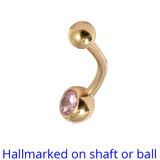 Belly Bars - Many styles - 9ct Gold with Jewels 9ct-4mm-6mm-balls, 10mm, Light Pink