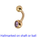 Belly Bars - Many styles - 9ct Gold with Jewels 9ct-4mm-6mm-balls, 10mm, Lilac