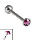 Titanium Internally Threaded Barbells 1.6mm - 3mm Jewelled Disk 1.6mm, 20mm, 3mm, Purple