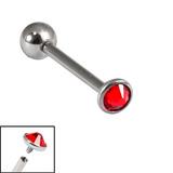 Titanium Internally Threaded Barbells 1.6mm - 3mm Jewelled Disk 1.6mm, 10mm, 3mm, Red