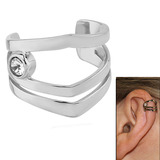 Surgical Steel Clip On Ear Cuff - Jewelled 3 Band Jewelled 3 Band
