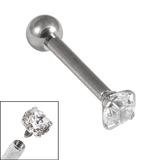 Titanium Internally Threaded Micro Barbells 1.2mm - Claw Set Jewelled Single Jewel, 1.2mm, 12mm, 3mm, 3mm