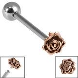 Titanium Internally Threaded Barbells 1.6mm - Rose Gold Steel Rose Flower 1.6mm, 18mm