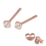 Rose Gold Plated Silver Claw Set Jewelled Studs RG-ST11, 12, 13 Crystal Clear / RG-ST12. Claw set. 2.0mm jewel