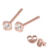 Rose Gold Plated Silver Claw Set Jewelled Studs RG-ST11, 12, 13 Crystal Clear / RG-ST13. Claw set. 2.5mm jewel