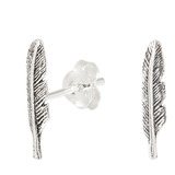 Sterling Silver Feather Stud Earrings Feather - 1 pair.
