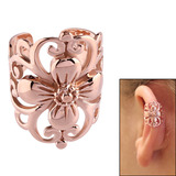 Rose Gold Steel Clip On Ear Cuff - Flower Rose Gold Flower