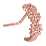 Rose Gold Steel Nose Stud Triple Daisy Flower Curl 0.8mm, Non-oxidised