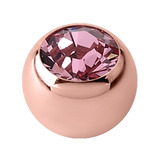 Rose Gold Steel Jewelled Balls 1.6mm (Rose Gold colour PVD) 1.6mm, 5mm, Light Pink