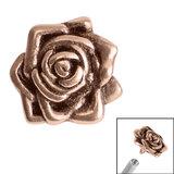 Rose Gold Steel Rose Flower for Internal Thread shafts in 1.2mm (0.9mm) 1.2mm