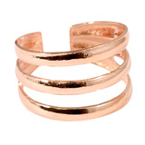 925 Sterling Silver 3 Bands Toe Ring Rose Gold Plated Sterling Silver Toe Ring - adjustable size. 3 bands.