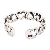 925 Sterling Silver Hearts Toe Ring Sterling Silver Toe Ring - adjustable size. 11 Hearts