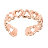 925 Sterling Silver Hearts Toe Ring Rose Gold Plated Sterling Silver Toe Ring - adjustable size. 11 Hearts