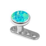 Titanium Dermal Anchor with Titanium Opal Disk 2.5mm, Titanium Light Blue Opal Disk