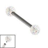 Titanium Internally Threaded Barbells 1.6mm - Smooth Glitzy Ball Double Crystal AB Smooth Glitzy Ball, 1.6mm, 18mm, 5mm-5mm