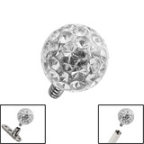 Smooth Glitzy Ball for Internal Thread shafts in 1.6mm (1.2mm). Also fits Dermal Anchor 4mm, Crystal Clear