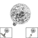 Smooth Glitzy Ball for Internal Thread shafts in 1.6mm (1.2mm). Also fits Dermal Anchor 5mm, Crystal Clear