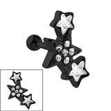 Black Steel 3 Jewelled Stars Tragus Bar 1.2mm, 6mm