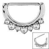 Steel Jewelled Nipple Clicker Ring 1.6mm, 14mm, Crystal Clear