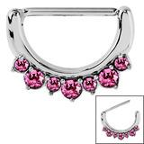 Steel Jewelled Nipple Clicker Ring 1.6mm, 14mm, Pink
