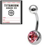 Sterile Titanium Jewelled Belly Bars 1.6mm, 10mm, Pink / Mirror Polish