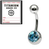 Sterile Titanium Jewelled Belly Bars 1.6mm, 10mm, Light Blue / Mirror Polish