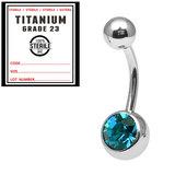 Sterile Titanium Jewelled Belly Bars 1.6mm, 12mm, Turquoise / Mirror Polish