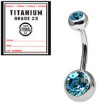 Sterile Titanium Double Jewelled Belly Bars 1.6mm, 10mm, Light Blue / Mirror Polish