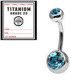 Sterile Titanium Double Jewelled Belly Bars 1.6mm, 12mm, Light Blue / Mirror Polish