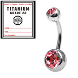 Sterile Titanium Double Jewelled Belly Bars 1.6mm, 10mm, Pink / Mirror Polish