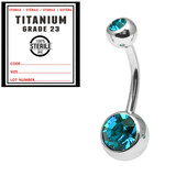 Sterile Titanium Double Jewelled Belly Bars 1.6mm, 10mm, Turquoise / Mirror Polish