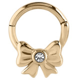 Zircon Steel Hinged Segment Ring with Jewelled Bow (Gold colour PVD) (Clicker) 1.2mm, 8mm