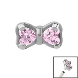 Steel Claw Set Jewelled Bow for Internal Thread shafts in 1.2mm (0.9mm) 1.2mm, Pink