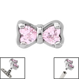 Steel Jewelled Bow for Internal Thread shafts in 1.6mm (1.2mm). Also fits Dermal Anchor Pink