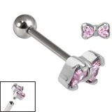 Titanium Internally Threaded Barbells 1.6mm - Jewelled Bow 1.6mm, 16mm, Pink