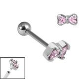 Titanium Internally Threaded Micro Barbells 1.2mm - Jewelled Bow 1.2mm, 10mm, Pink