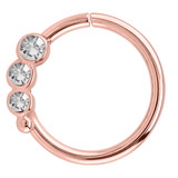 Rose Gold Steel Triple Jewelled Continuous Rings (Rose Gold colour PVD) 1.2mm, 10mm / For RIGHT ear.