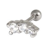 Steel Micro Barbell with Cast Steel Trio Gem 1.2mm 1.2mm, 9mm, Crystal Clear