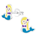 Sterling Silver Mermaid Stud Earrings Mermaid - 1 Pair