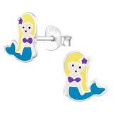 Sterling Silver Mermaid Ear Stud Earrings - SKU 28030